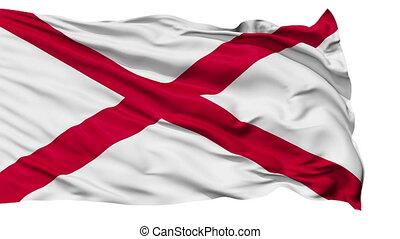 Isolated Waving National Flag of Alabama
