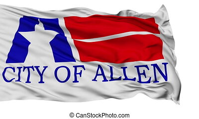 Isolated Waving National Flag of Allen City, Texas