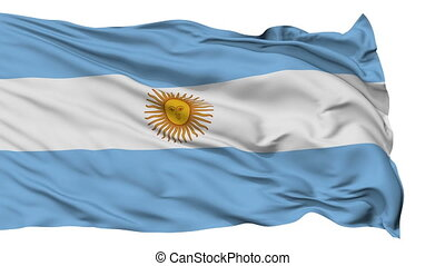 Isolated Waving National Flag of Argentina