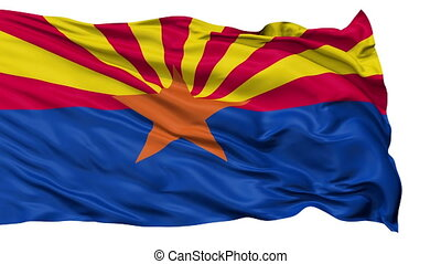 Isolated Waving National Flag of Arizona