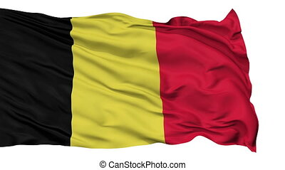 Isolated Waving National Flag of Belgium