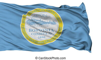 Isolated Waving National Flag of Boston City