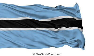 Botswana Flag Realistic Animation Isolated on White Seamless Loop - 10 Seconds Long (Alpha Channel is Included)