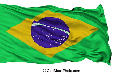 Isolated Waving National Flag of Brazil