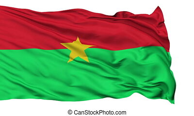 Burkina Faso Flag Realistic Animation Isolated on White Seamless Loop - 10 Seconds Long (Alpha Channel is Included)