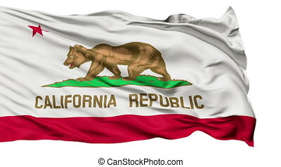 California Flag Isolated Realistic Animation Seamless Loop - 10 Seconds Long