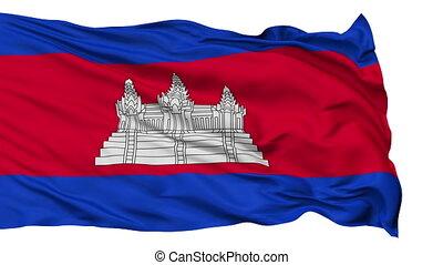Isolated Waving National Flag of Cambodia