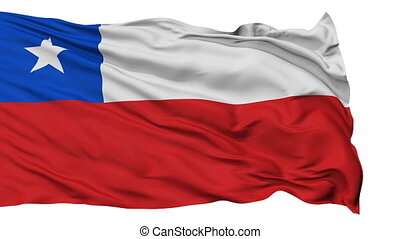Isolated Waving National Flag of Chile
