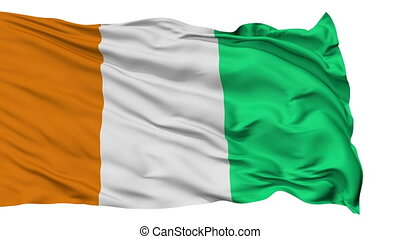 Isolated Waving National Flag of Cote dIvoire - Cote dIvoire...