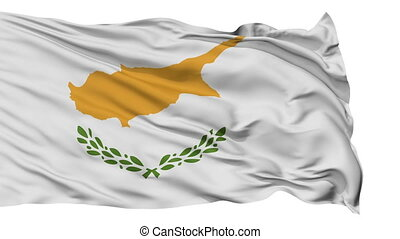 Isolated Waving National Flag of Cyprus