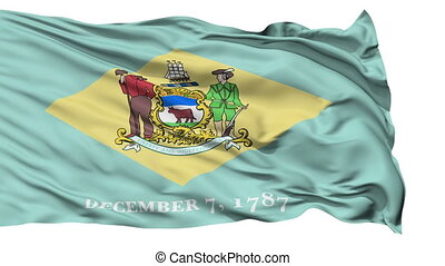 Isolated Waving National Flag of Delaware