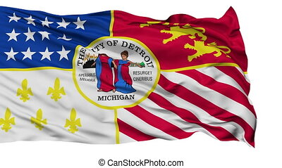 Isolated Waving National Flag of Detroit City