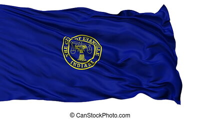 Isolated Waving National Flag of Evansville City, Indiana -...