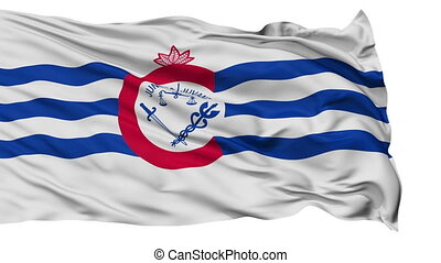 Isolated Waving National Flag of Cincinnati City