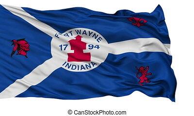 Isolated Waving National Flag of Fort Wayne City, Indiana -...