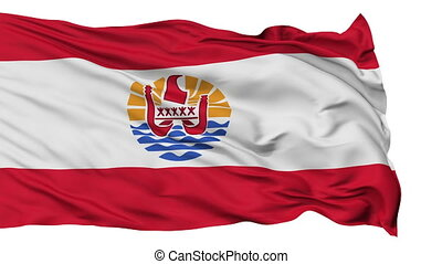 Isolated Waving National Flag of French Polynesia
