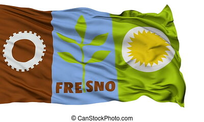 Isolated Waving National Flag of Fresno City, California