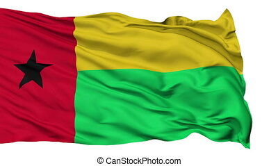 Isolated Waving National Flag of Guinea Bissau