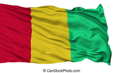 Isolated Waving National Flag of Guinea