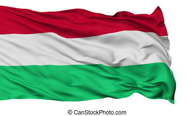 Isolated Waving National Flag of Hungary