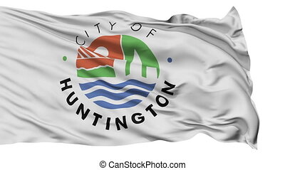 Isolated Waving National Flag of Huntington City, West Virginia