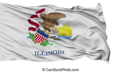 Isolated Waving National Flag of Illinois