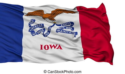 Isolated Waving National Flag of Iowa