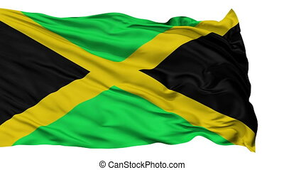 Isolated Waving National Flag of Jamaica