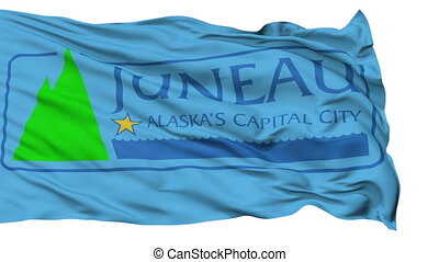 Isolated Waving National Flag of Juneau City, Alaska