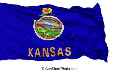 Isolated Waving National Flag of Kansas