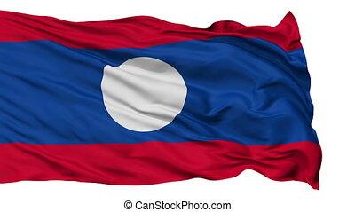 Isolated Waving National Flag of Laos - Laos Flag Realistic...