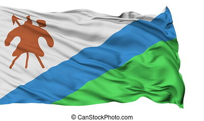Isolated Waving National Flag of Lesotho