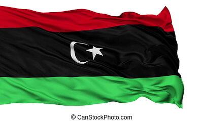 Isolated Waving National Flag of Libya