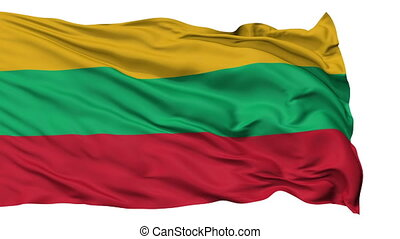 Isolated Waving National Flag of Lithuania
