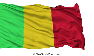 Isolated Waving National Flag of Mali - Mali Flag Realistic...