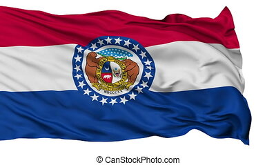 Isolated Waving National Flag of Missouri