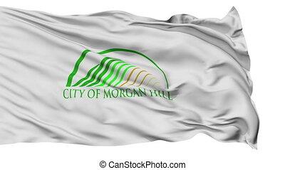 Isolated Waving National Flag of Morgan Hill City, California