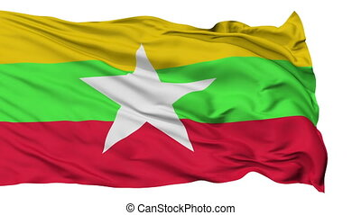 Isolated Waving National Flag of Myanmar - Myanmar Flag...
