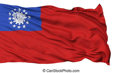 Isolated Waving National Flag of Myanmar (old one)