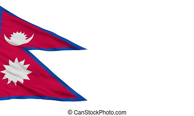 Isolated Waving National Flag of Nepal