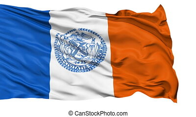 Isolated Waving National Flag of New York City - New York...
