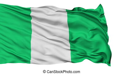 Isolated Waving National Flag of Nigeria