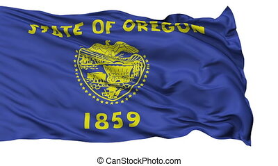 Isolated Waving National Flag of Oregon