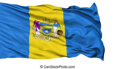 Isolated Waving National Flag of Philadelphia City