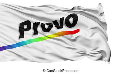 Isolated Waving National Flag of Provo City