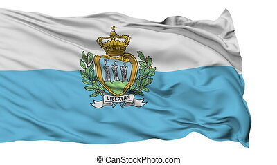 Isolated Waving National Flag of San Marino