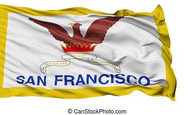 Isolated Waving National Flag of San Francisco City