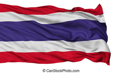 Isolated Waving National Flag of Thailand