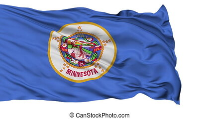 Isolated Waving National Flag of Minnesota