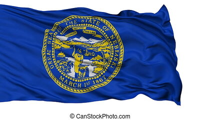 Isolated Waving National Flag of Nebraska